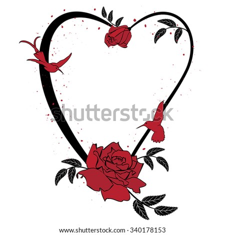 valentine vector frame with roses and hummingbird in black and red colors - stock vector