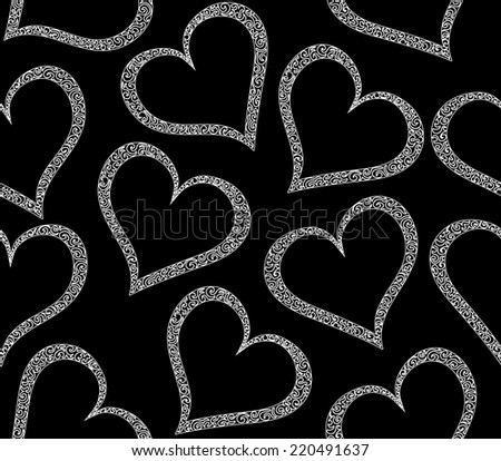 Valentine vector seamless pattern with hearts. You can use it as a wedding background, invitation, greeting card - stock vector