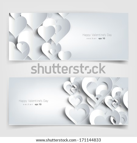 Valentines day. Abstract cards with paper hearts - stock vector