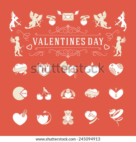 Valentines Day and Wedding Vintage Objects Vector and symbols Set: Hearts, Love Labels, Arrow, flowers, ribbons and Icons. Vector design elements  - stock vector