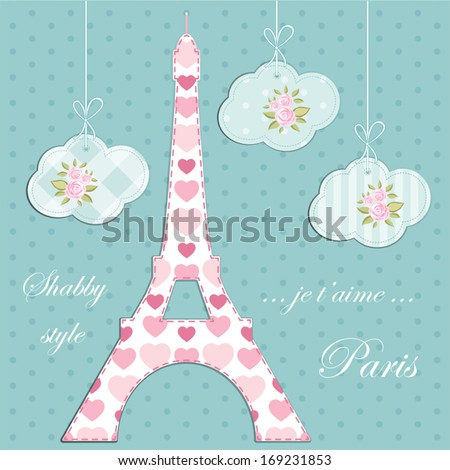 Valentines day background as patchwork fabric Eiffel tower of Paris with hearts and clouds with roses in shabby chic style - stock vector