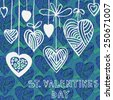 Valentines Day Background. Seamless pattern with hearts. Hand drawn illustration. EPS 8 vector file include - stock vector