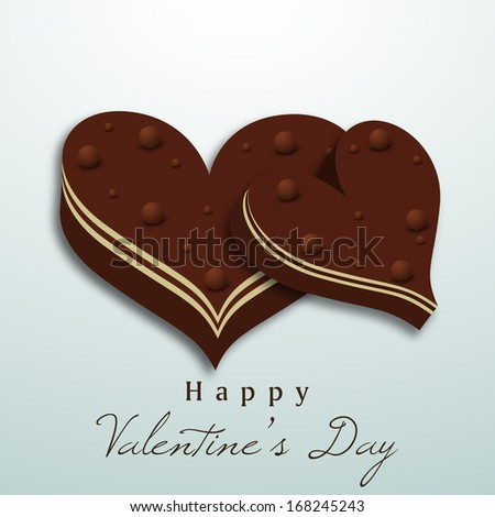 Valentines day background with chocolates in heart shape.  - stock vector