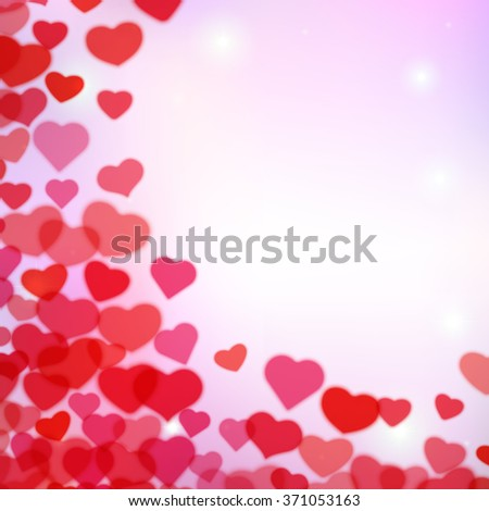 Valentines Day background with scattered blurred hearts - stock vector