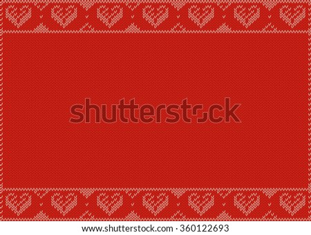Valentines Day Banner, Knitting Pattern, Red with hearts and Copy Space. Useful for Postcards - stock vector