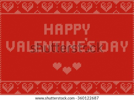 Valentines Day Banner, Knitting Pattern, Red with hearts and Text: Happy Valentine's Day. Useful for Postcards - stock vector