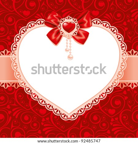 Valentines Day beautiful background  with ornaments and heart. Place for your text. - stock vector