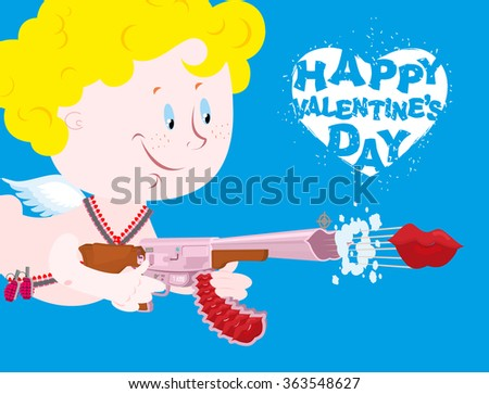 Valentines day. Blue Valentine. Funny Cupid with automatic weapons. Kiss departs from  muzzle of gun. Heavenly little angel with bomb of love. Happy Valentine's day - stock vector