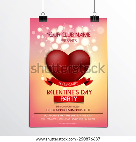 Valentines Day brochure - Flyer template with heart and place for text. Abstract typographical brochure. Vector - stock vector