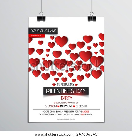Valentines Day brochure - Flyer template with hearts and place for text. Abstract typographical brochure. Vector - stock vector