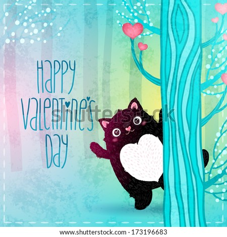 Valentines day card. Cute cartoon fat black cat in the fairy forest - stock vector