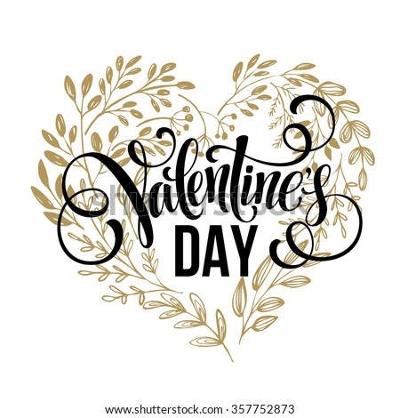 Valentines day card design Hand drawn text. Flowers hearts wreath. Vector illustration EPS10 - stock vector