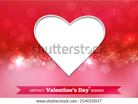Valentines day  card hearts light. - stock vector