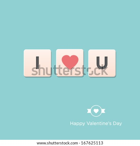 Valentines day card. Letter alphabet. Vector design editable. - stock vector
