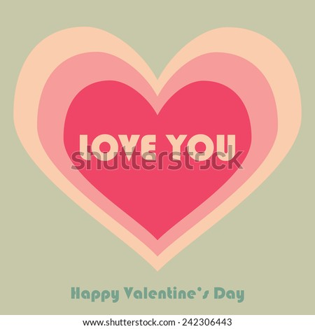 Valentines Day card. Love card. Vector illustration. - stock vector