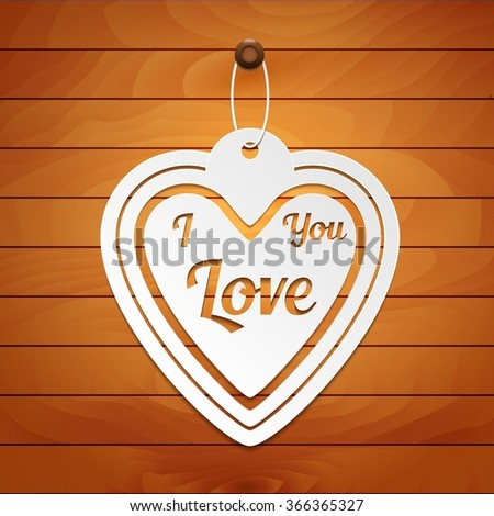 Valentines Day card. Paper heart on wood background - stock vector