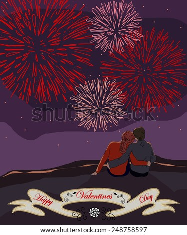 Valentines day card with a couple watching the fireworks - stock vector