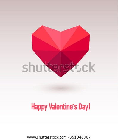 Valentines day card with abstract heart. Vector illustration. - stock vector