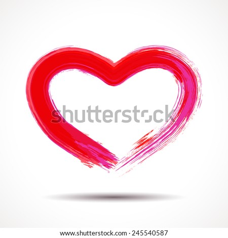 Valentines Day card with brush or lipstick painted heart - stock vector