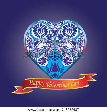 Valentines Day card with floral heart on blue background - vector illustration. - stock vector