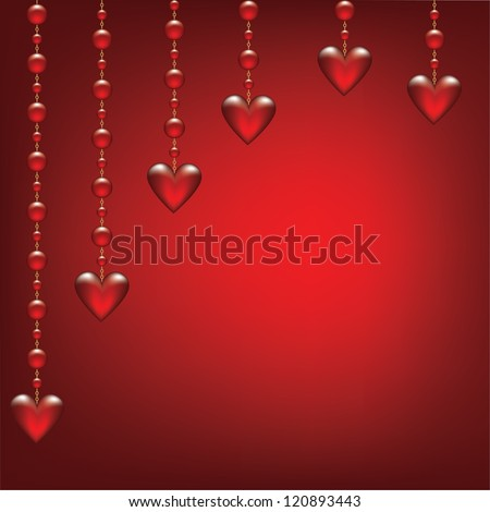 Valentines day card with hanging transparent hearted on red background - stock vector