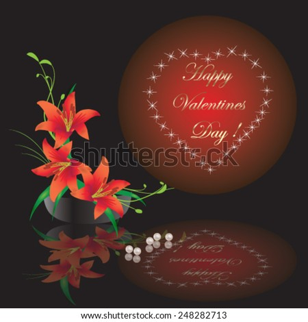 Valentines Day card with heart and calla lilly on brown background - vector illustration. - stock vector
