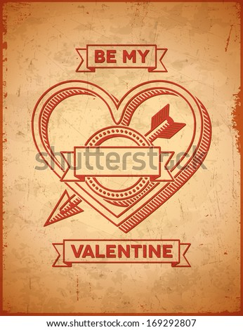Valentines Day card with heart and cupid's arrow - stock vector
