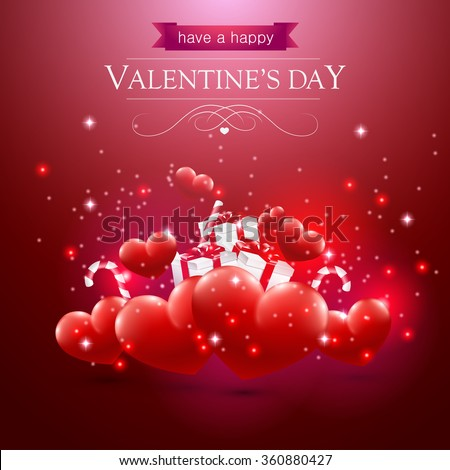Valentines day card with hearts presents and sparkles on red background. - stock vector