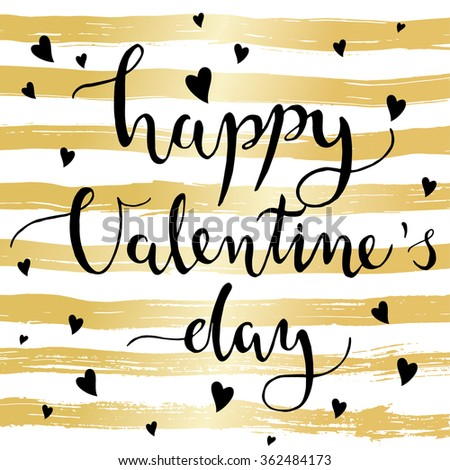 Valentines Day card with modern calligraphy on gold striped background - stock vector