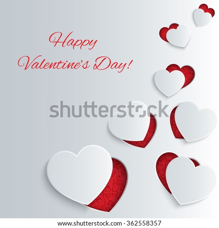 Valentines Day card with paper hearts - stock vector