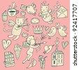 Valentines Day cartoon vector set - stock vector