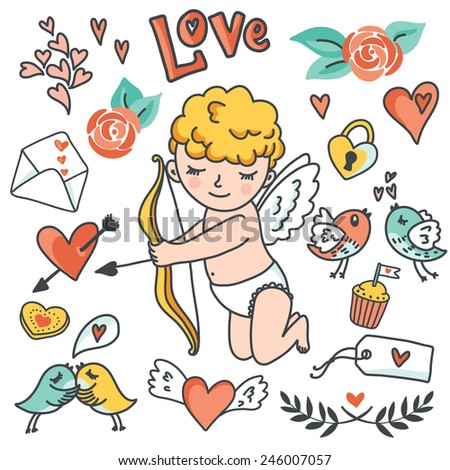 Valentines Day cartoon vector set. Cute Cupid, birds, envelopes, hearts and other design elements. Vector illustration - stock vector