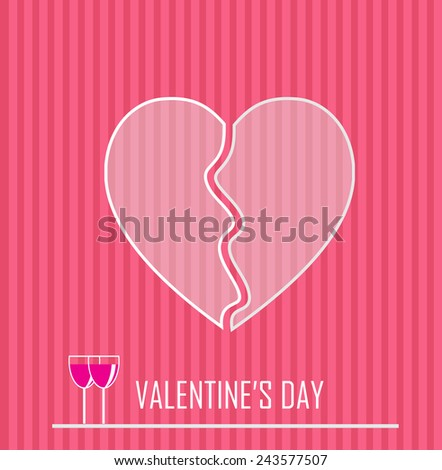 Valentines day concept with a broken hearth vector artwork  - stock vector
