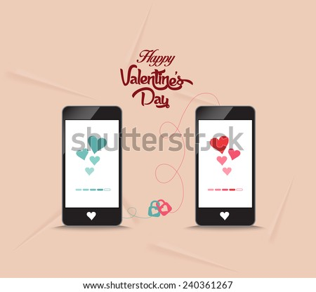valentines day connecting hearts together by phone - stock vector