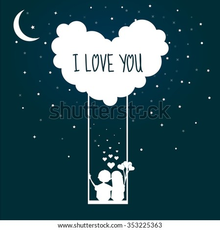 Valentines Day Couple On A Swing With Love and sky stars. I love you - stock vector