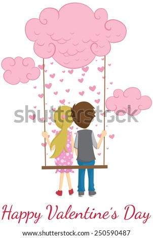 Valentines Day Couple On A Swing With Love Rain - stock vector