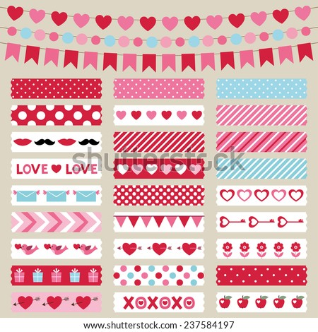 Valentines Day decoration and washi tapes, vector set - stock vector
