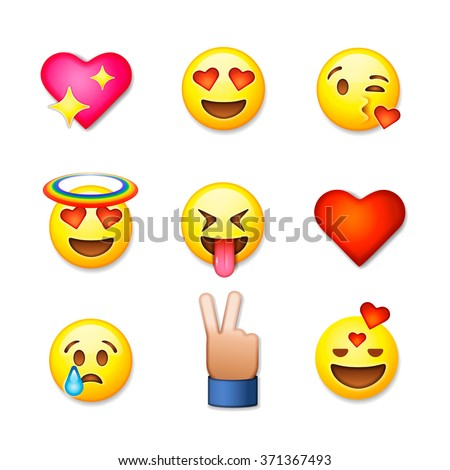 Valentines day emoticon icons, Love emoji set, isolated on white background, vector illustration. - stock vector
