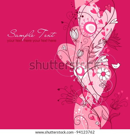 Valentines Day floral seamless background - stock vector