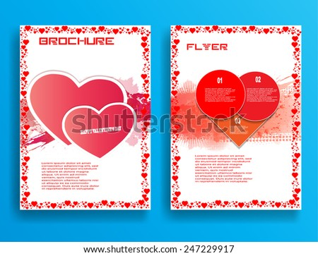 Valentines Day Flyer , Brochure , Cover or Invitation Card Design . Love Background . Red Hearts Border Frame . Vector Abstract Background .  - stock vector