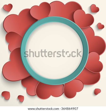 Valentines Day frame with stylized hearts. - stock vector