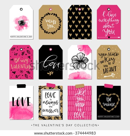 Valentines day gift tags and cards. Calligraphy and hand drawn design elements. Handwritten modern lettering. - stock vector