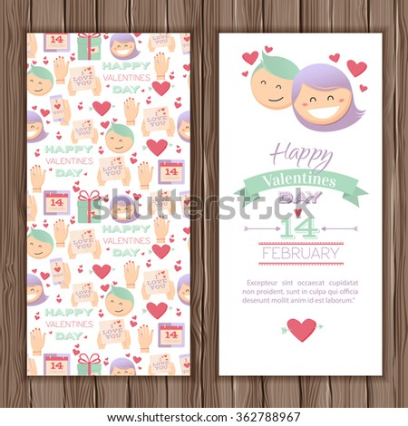 Valentines Day greeting card. Stylish card with a couple in love in cartoon style. On a wooden background for your design - stock vector