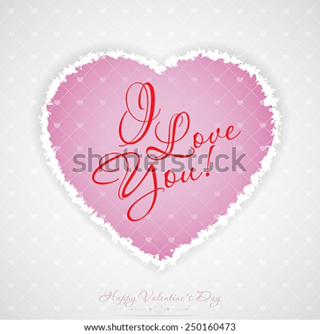 Valentines Day Greeting Card with Pattern - stock vector