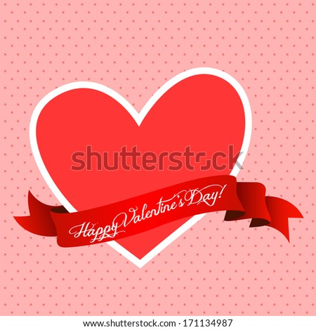 Valentines Day greeting with vintage dotted background - stock vector