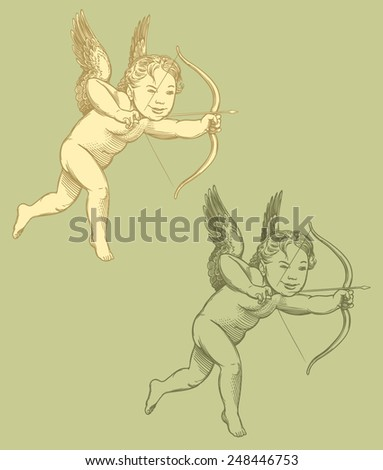 """Valentines day hand drawn engraving illustration """"Cupid"""", isolated on color background .8 EPS  - stock vector"""