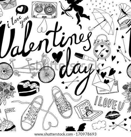 Valentines day hand-drawn symbols seamless pattern  - stock vector