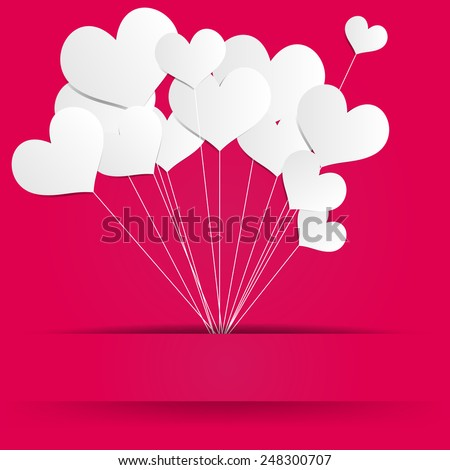 Valentines Day Heart Balloons on Pink Background - stock vector