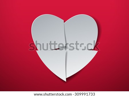 Valentines Day. Heart Cut from Paper, Vector Illustration - stock vector