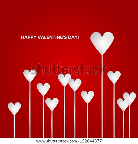 Valentines Day Heart Flowers on Red Background - stock vector